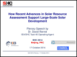 How Recent Advances in Solar Resource Assessment Support Large-Scale Solar Development