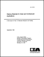 Glazing Materials for Solar and Architectural Applications